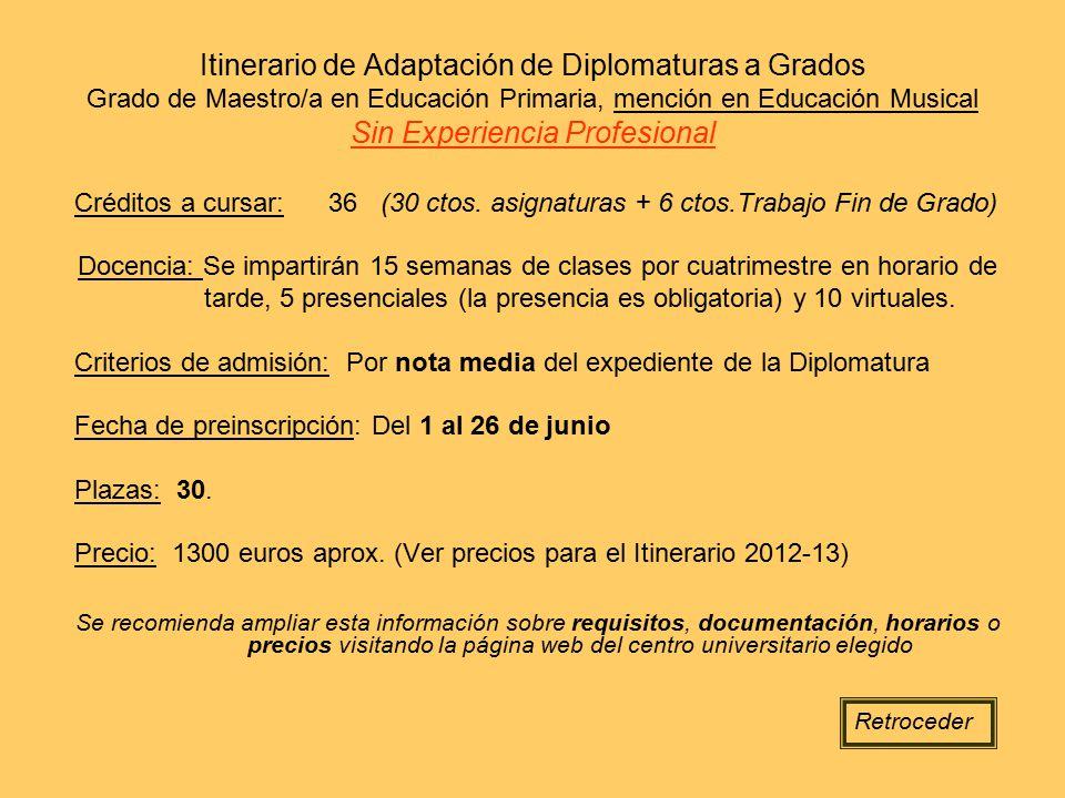 Itinerario de Adaptación de Diplomaturas a Grados Grado de Maestro/a en Educación Primaria, mención en Educación Musical Sin Experiencia Profesional