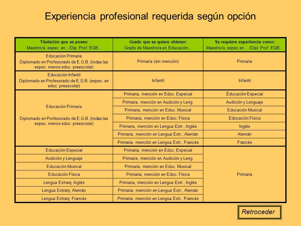 Experiencia profesional requerida según opción