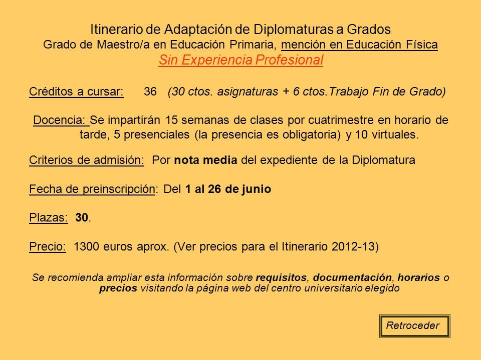 Itinerario de Adaptación de Diplomaturas a Grados Grado de Maestro/a en Educación Primaria, mención en Educación Física Sin Experiencia Profesional