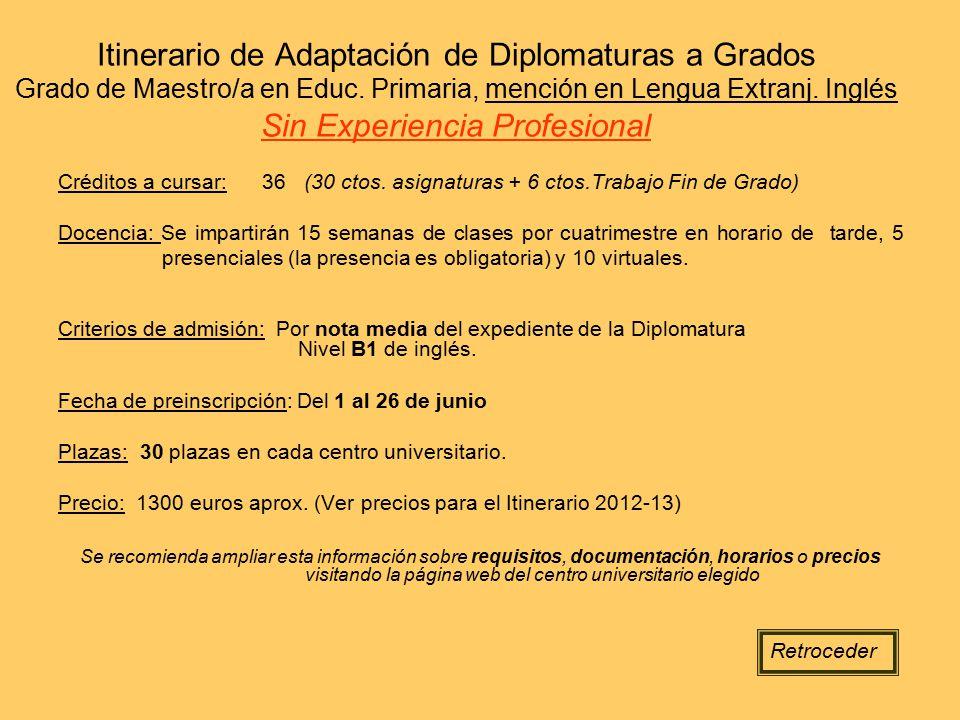 Itinerario de Adaptación de Diplomaturas a Grados Grado de Maestro/a en Educ. Primaria, mención en Lengua Extranj. Inglés Sin Experiencia Profesional