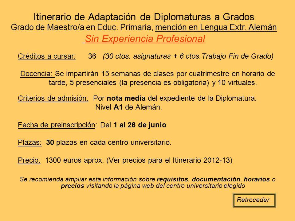 Itinerario de Adaptación de Diplomaturas a Grados Grado de Maestro/a en Educ. Primaria, mención en Lengua Extr. Alemán Sin Experiencia Profesional