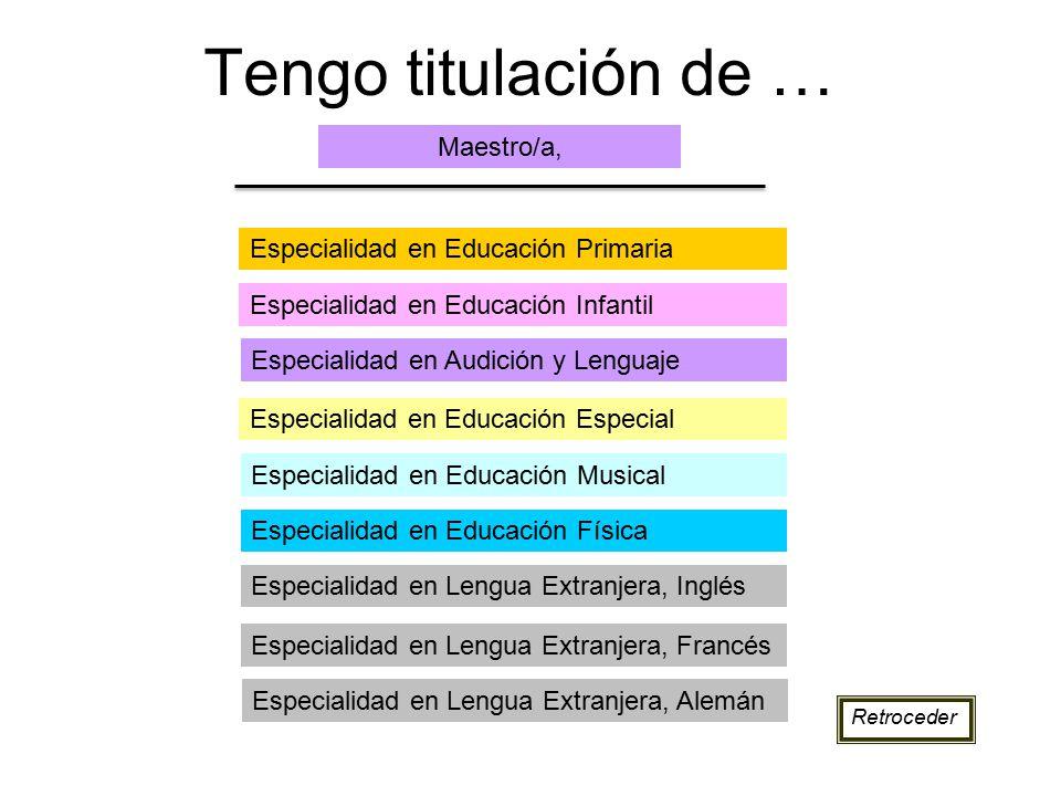 Tengo titulación de … Maestro/a, Especialidad en Educación Primaria