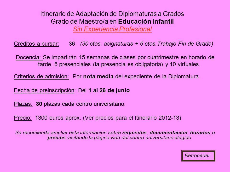 Itinerario de Adaptación de Diplomaturas a Grados Grado de Maestro/a en Educación Infantil Sin Experiencia Profesional