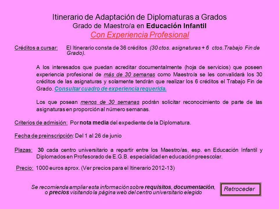 Itinerario de Adaptación de Diplomaturas a Grados Grado de Maestro/a en Educación Infantil Con Experiencia Profesional