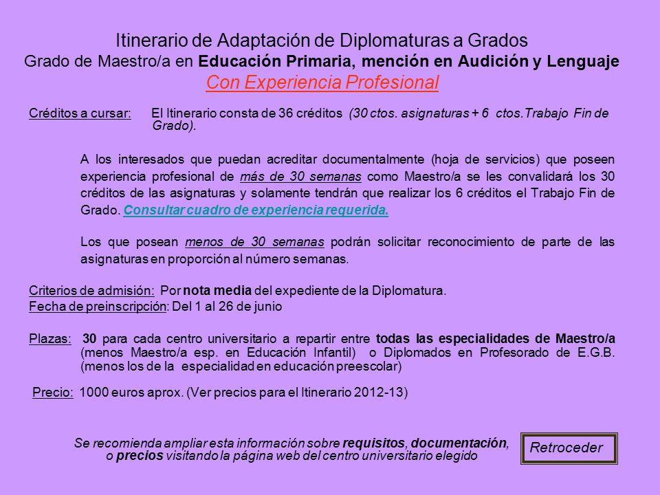 Itinerario de Adaptación de Diplomaturas a Grados Grado de Maestro/a en Educación Primaria, mención en Audición y Lenguaje Con Experiencia Profesional