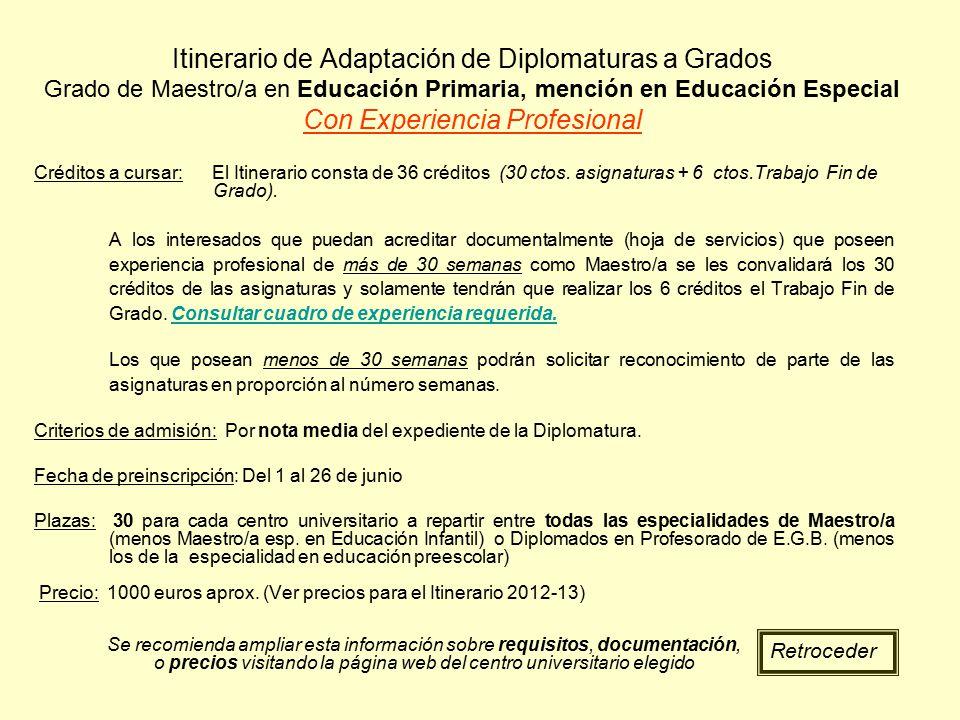 Itinerario de Adaptación de Diplomaturas a Grados Grado de Maestro/a en Educación Primaria, mención en Educación Especial Con Experiencia Profesional
