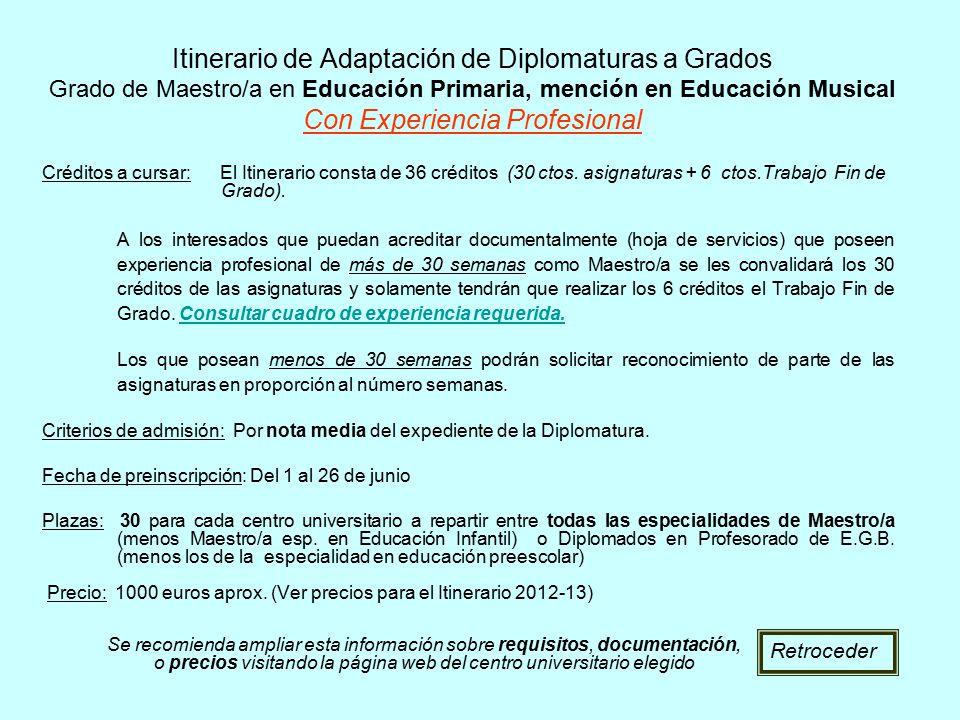 Itinerario de Adaptación de Diplomaturas a Grados Grado de Maestro/a en Educación Primaria, mención en Educación Musical Con Experiencia Profesional