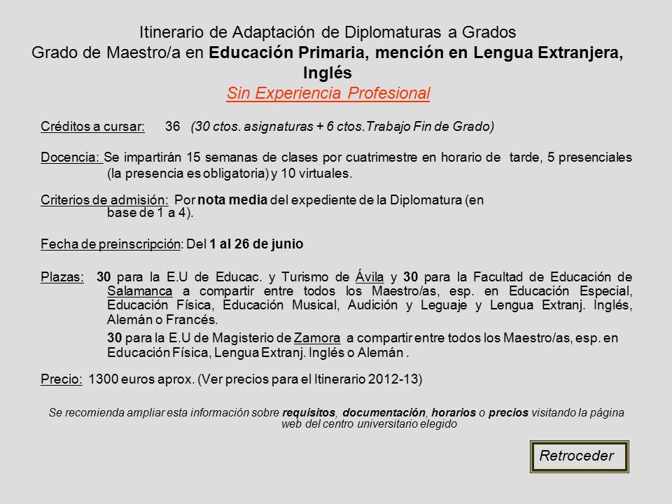 Itinerario de Adaptación de Diplomaturas a Grados Grado de Maestro/a en Educación Primaria, mención en Lengua Extranjera, Inglés Sin Experiencia Profesional