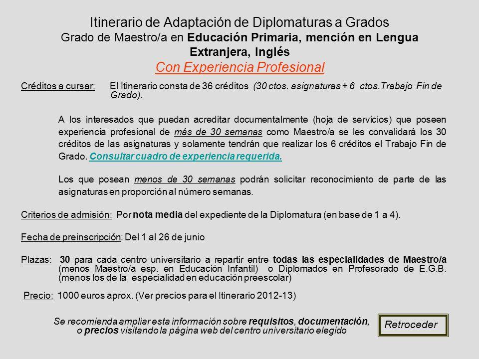 Itinerario de Adaptación de Diplomaturas a Grados Grado de Maestro/a en Educación Primaria, mención en Lengua Extranjera, Inglés Con Experiencia Profesional