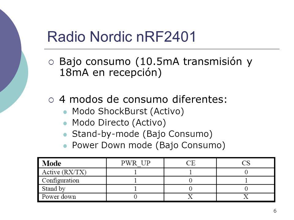 Radio Nordic nRF2401Bajo consumo (10.5mA transmisión y 18mA en recepción) 4 modos de consumo diferentes: