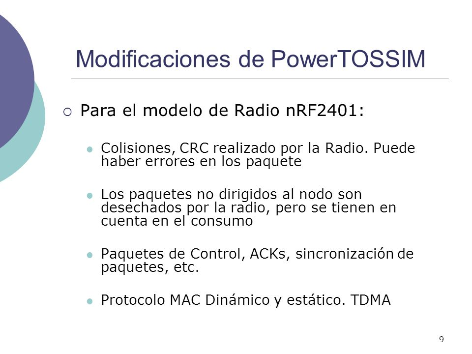 Modificaciones de PowerTOSSIM