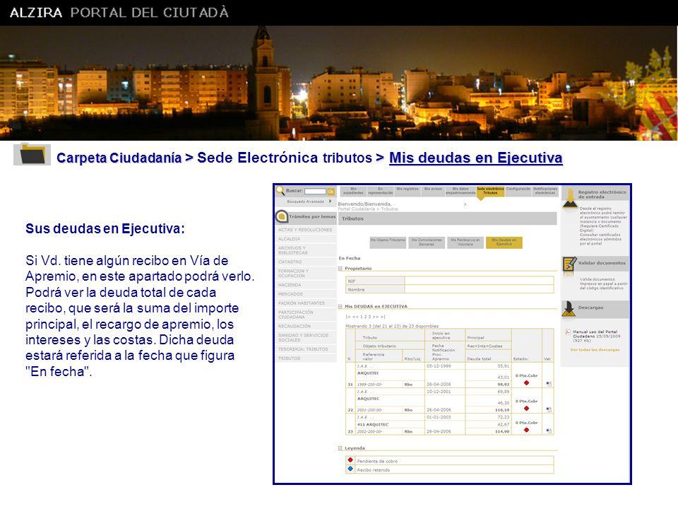 Ajuntament d' Alzira Carpeta Ciudadanía > Sede Electrónica tributos > Mis deudas en Ejecutiva. Sus deudas en Ejecutiva: