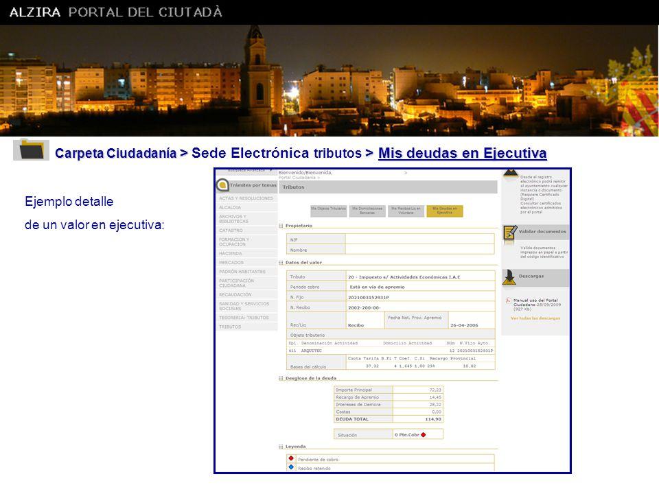 Ajuntament d' Alzira Carpeta Ciudadanía > Sede Electrónica tributos > Mis deudas en Ejecutiva. Ejemplo detalle.