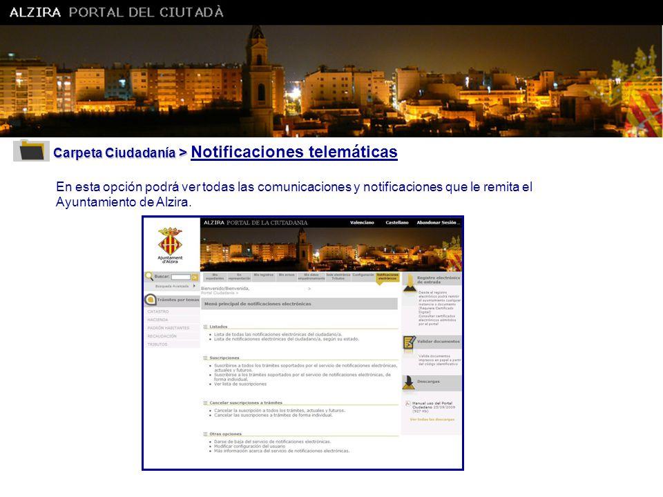 Carpeta Ciudadanía > Notificaciones telemáticas