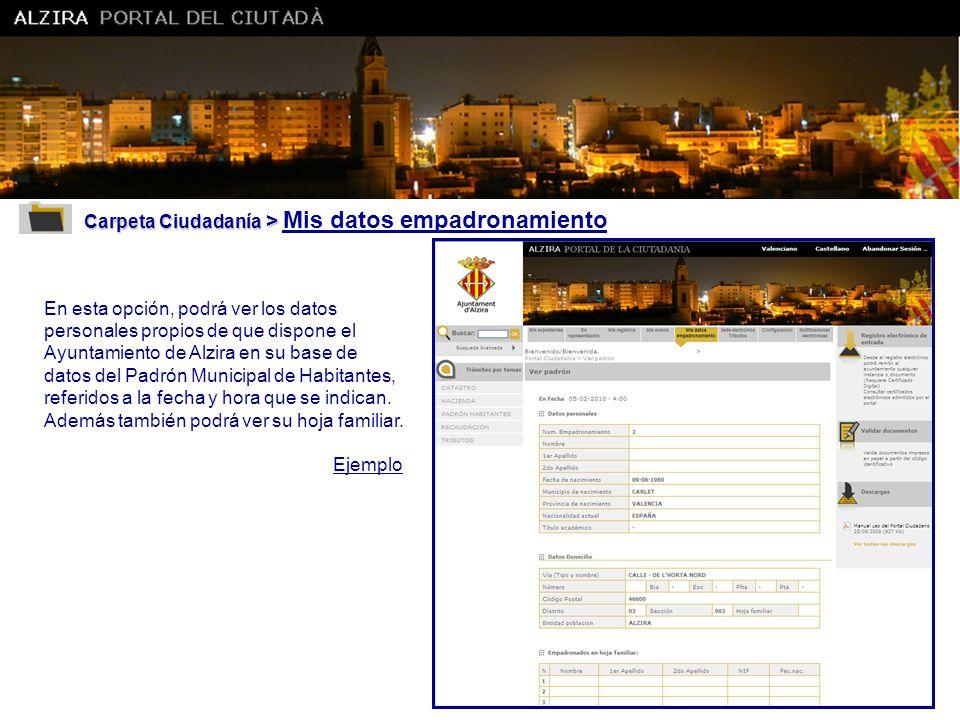 Carpeta Ciudadanía > Mis datos empadronamiento