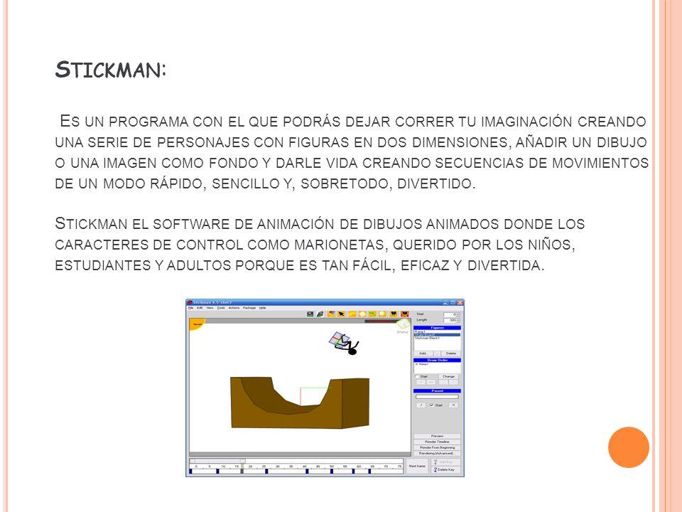 Stickman: Es un programa con el que podrás dejar correr tu imaginación creando una serie de personajes con figuras en dos dimensiones, añadir un dibujo o una imagen como fondo y darle vida creando secuencias de movimientos de un modo rápido, sencillo y, sobretodo, divertido.