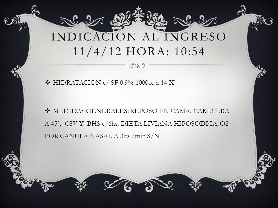 INDICACION al ingreso 11/4/12 HORA: 10:54