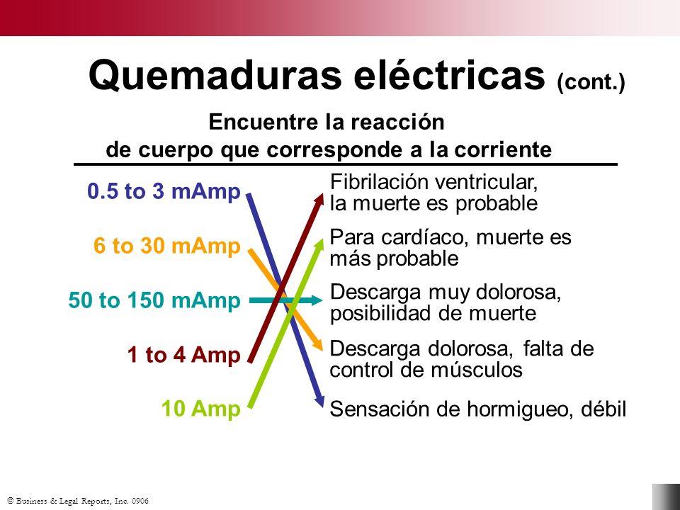Quemaduras eléctricas (cont.)