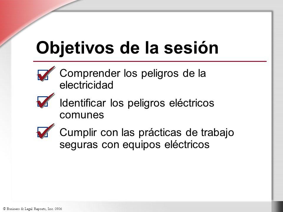 Objetivos de la sesión Comprender los peligros de la electricidad