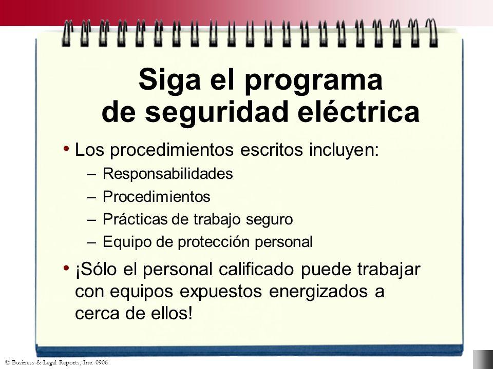 Siga el programa de seguridad eléctrica