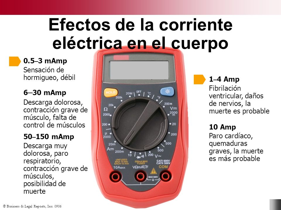 Efectos de la corriente eléctrica en el cuerpo