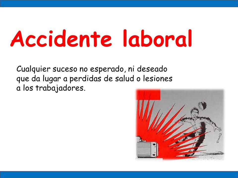 Accidente laboral Cualquier suceso no esperado, ni deseado que da lugar a perdidas de salud o lesiones a los trabajadores.