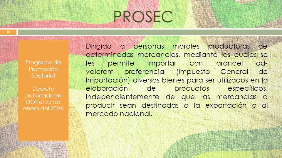 PROSEC Programa de Promoción Sectorial. Decreto publicado en DOF el 23 de enero del 2004.
