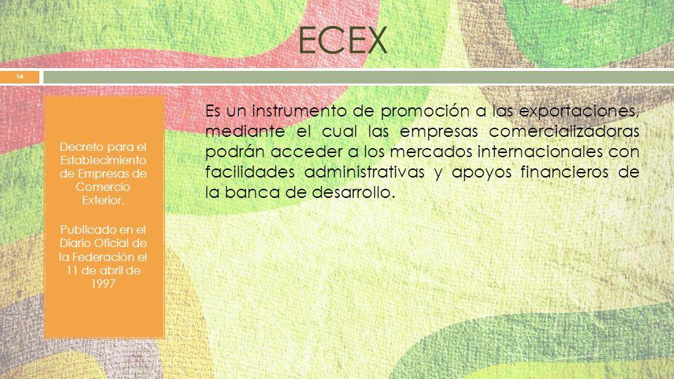 ECEX Decreto para el Establecimiento de Empresas de Comercio Exterior.
