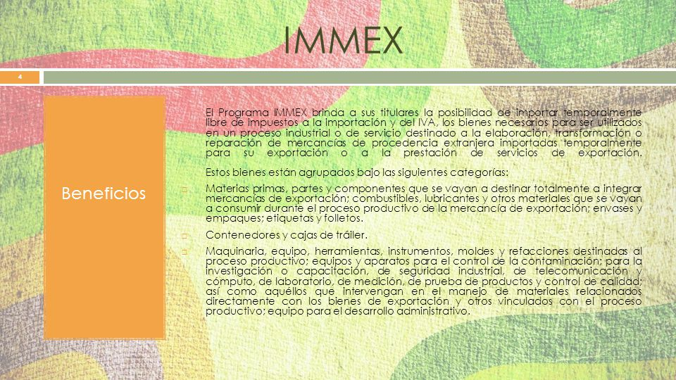 IMMEX Beneficios.