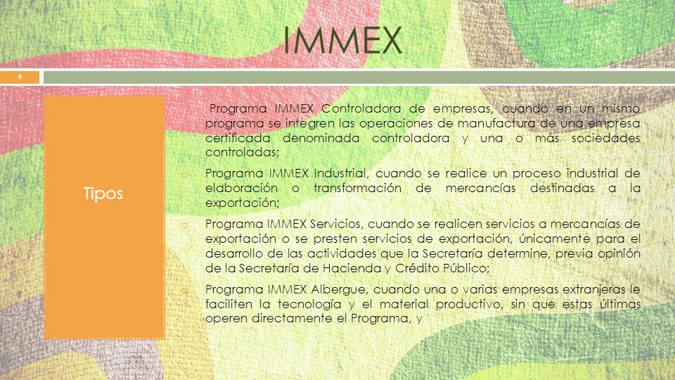 IMMEX Tipos.
