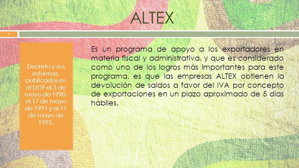 ALTEX Decreto y sus reformas, publicados en el DOF el 3 de mayo de 1990, el 17 de mayo de 1991 y el 11 de mayo de 1995.