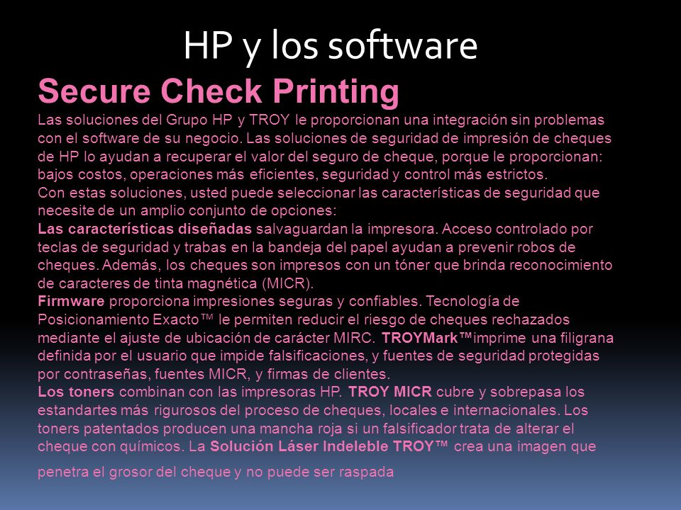 HP y los software Secure Check Printing