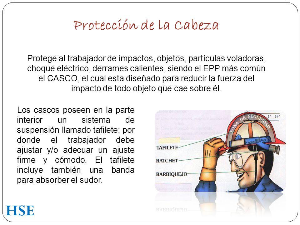 Protección de la Cabeza Protege al trabajador de impactos, objetos, partículas voladoras, choque eléctrico, derrames calientes, siendo el EPP más común el CASCO, el cual esta diseñado para reducir la fuerza del impacto de todo objeto que cae sobre él.
