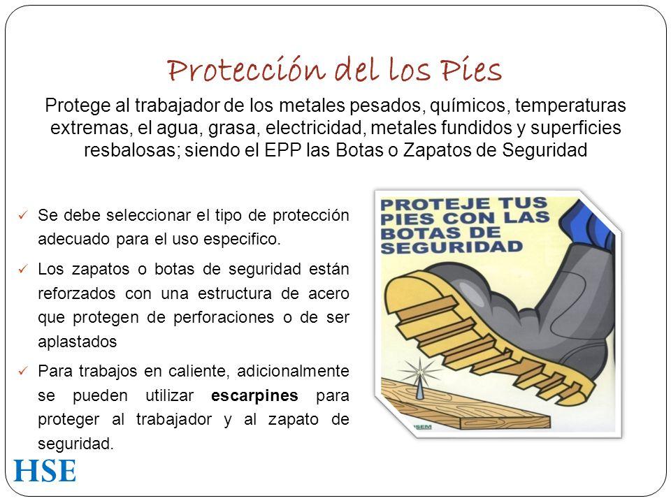 Protección del los Pies Protege al trabajador de los metales pesados, químicos, temperaturas extremas, el agua, grasa, electricidad, metales fundidos y superficies resbalosas; siendo el EPP las Botas o Zapatos de Seguridad