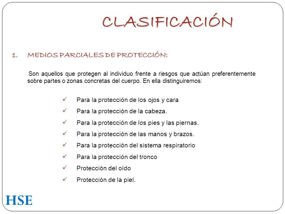 CLASIFICACIÓN HSE MEDIOS PARCIALES DE PROTECCIÓN: