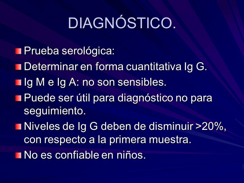 DIAGNÓSTICO. Prueba serológica: Determinar en forma cuantitativa Ig G.