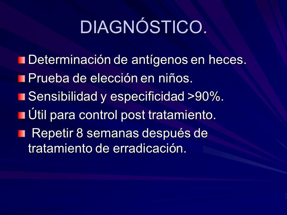 DIAGNÓSTICO. Determinación de antígenos en heces.