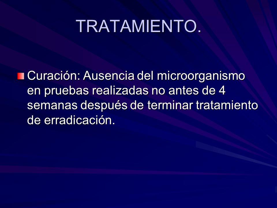 TRATAMIENTO.Curación: Ausencia del microorganismo en pruebas realizadas no antes de 4 semanas después de terminar tratamiento de erradicación.