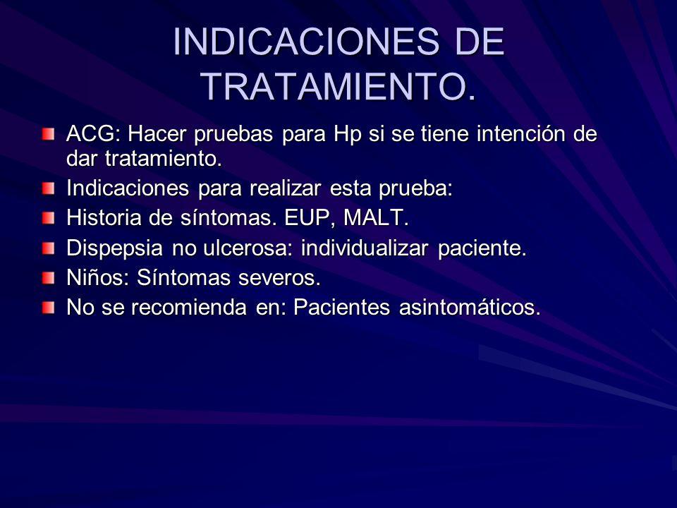 INDICACIONES DE TRATAMIENTO.