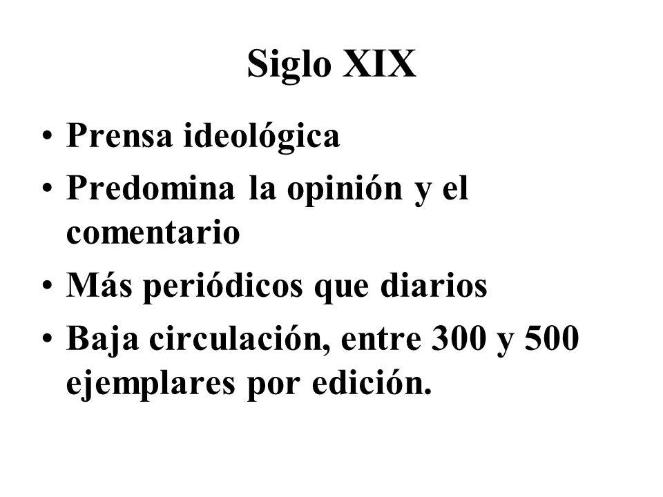 Siglo XIX Prensa ideológica Predomina la opinión y el comentario