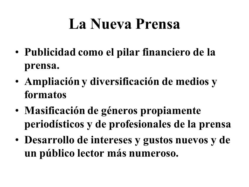 La Nueva Prensa Publicidad como el pilar financiero de la prensa.