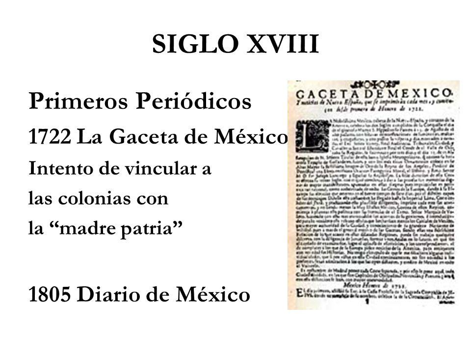 SIGLO XVIII Primeros Periódicos 1722 La Gaceta de México