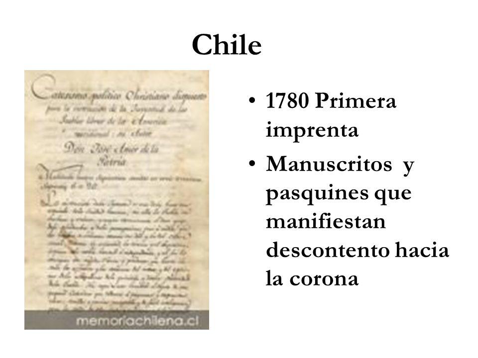 Chile 1780 Primera imprenta