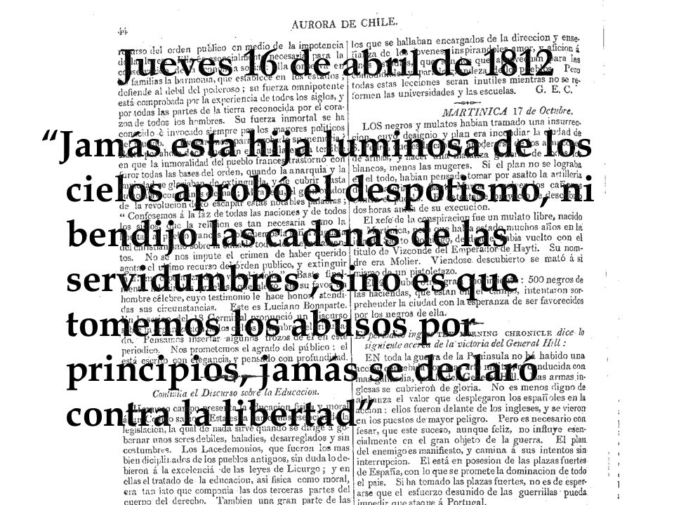 Jueves 16 de abril de 1812