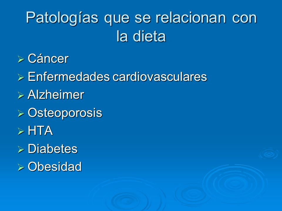 Patologías que se relacionan con la dieta