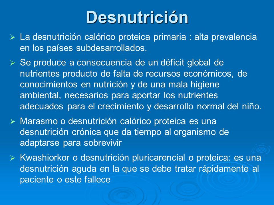 Desnutrición La desnutrición calórico proteica primaria : alta prevalencia en los países subdesarrollados.