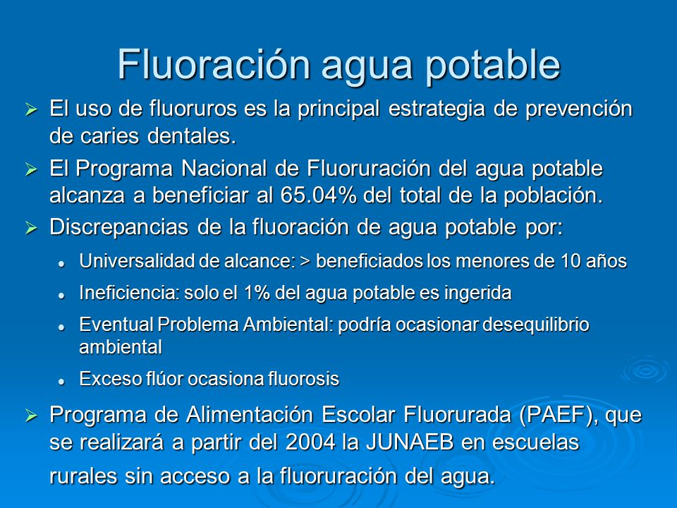 Fluoración agua potable
