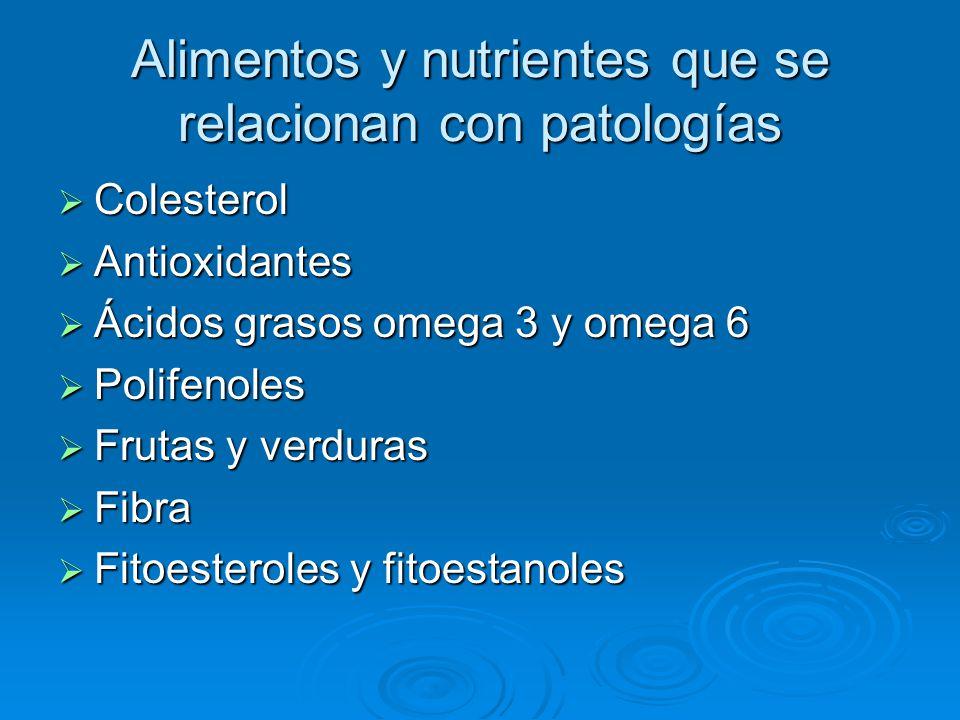 Alimentos y nutrientes que se relacionan con patologías