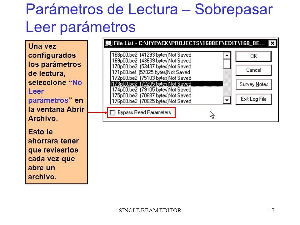 Parámetros de Lectura – Sobrepasar Leer parámetros