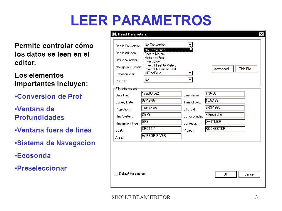 LEER PARAMETROS Permite controlar cómo los datos se leen en el editor.